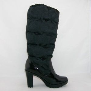 Coach 'Loryn' black quilted winter booties 5.5M